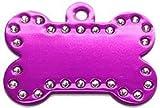 Swarovski Crystal Pet ID Tags - Bone Shape - 5 Colors (Purple)