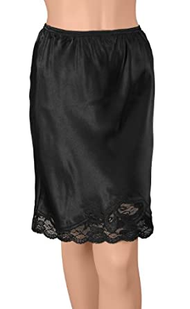 Gemsli Satin Pleasure, Satin Half Slip with Novelty Lace, Cling Free, 3X-28 Inches Black