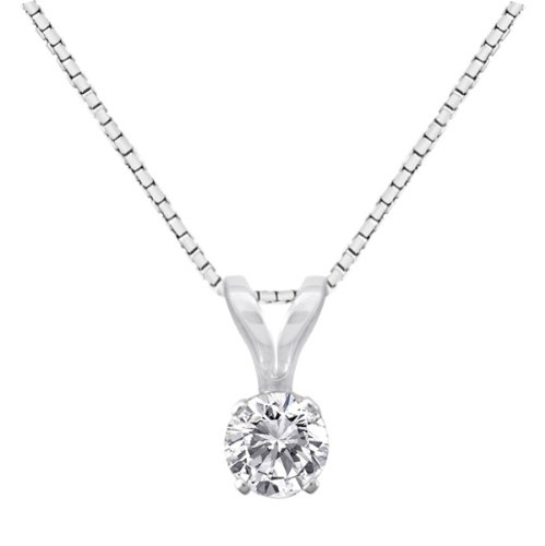 14k Gold Round Diamond Solitaire Pendant Necklace (1/3 ct, H-I Color, I1-12 Clarity), 18