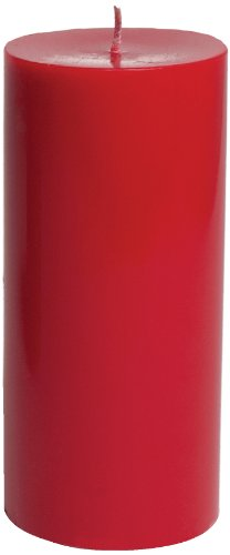 Entertaining with Caspari 6-Inch Round Pillar Dripless, Smokeless, Unscented Candle, Red