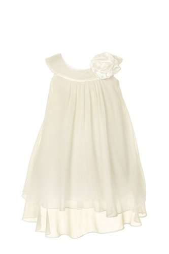 Soft & Flowy Chiffon Pageant Holiday Flower Girl Party Dress – Ivory 4
