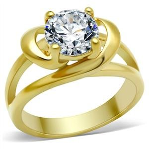 ENGAGEMENT RING - Gold Tone Prong Set Cubic Zirconia Ring