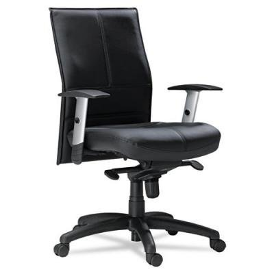 Silhouette Series Mid-Back Chair, Genuine Leather Seat, Black, Sold as 1 Each