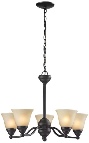 Z-Lite 2114-5 Athena Five Light Chandelier, Steel Frame, Bronze Finish And Amber Tea Stain Shade Of Glass Material front-93832