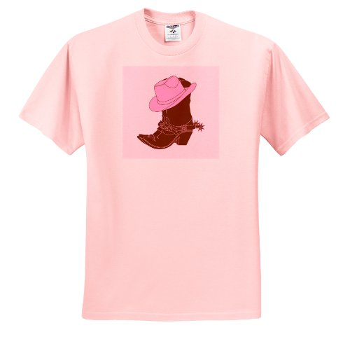Florene Decorative Ii - Cowgirl Boots N Pink Cowgirl Hat - T-Shirts - Adult Light-Pink-T-Shirt Small front-234811