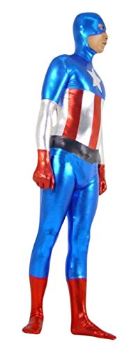 Ace Halloween Adult Men's Lycra Bodysuit Captain America Costumes Custom-made (XXL) (Custom Made Captain America Costume)