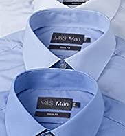 "3 Pack 2"" Longer Slim Fit Easycare Shirts"
