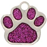 Glitter Pet Tag Pink Paw Print Shape 26mm S/Steel From Melian - MESSAGE US WITH TEXT REQUIRED