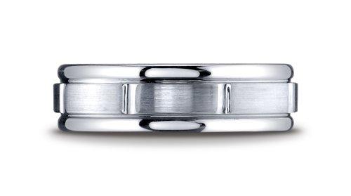 Cobalt Chrome, 7mm Comfort-Fit Satin-Finished Round Edge Design Ring (sz 13.5)
