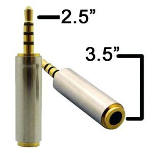 Atomic Market 2.5 Male to 3.5 Female Audio Adapter Stero or Mono Gold Plated