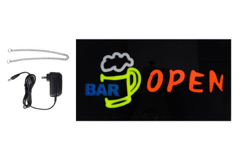 "Flashingboards High Quality Led ""Open/Bar"" Sign W/ Beer Glass Design"
