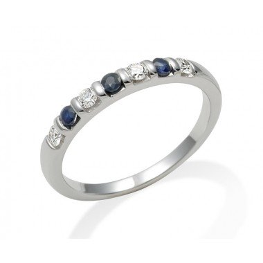 18ct White Gold 0.16ct Diamond & Sapphire Half Eternity Ring