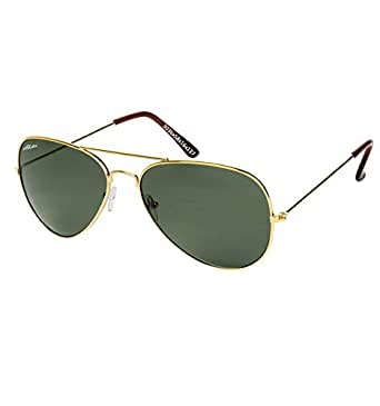Abster Glass Lens Small Size Unisex Aviator Sunglasses for Men and Women (Gold) (AB-S-3036-GLD-G15-S)