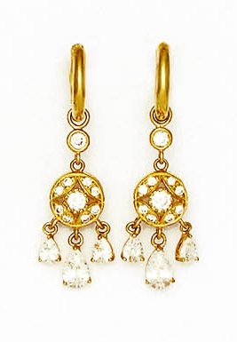 14ct Yellow Gold Round and Pear CZ Chandelier Hinged Earrings