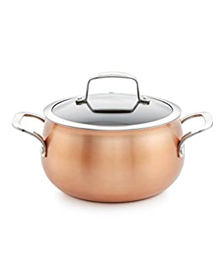 Belgique Copper Soup Pot With Lid, 3 Quart