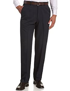 Haggar Men's Cool 18 Hidden Expandable Waist Plain Front Pant,Navy,36x30