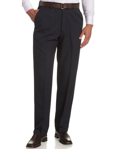 Haggar Men's Cool 18 Hidden Expandable Waist Plain Front Pant,Navy,42x29