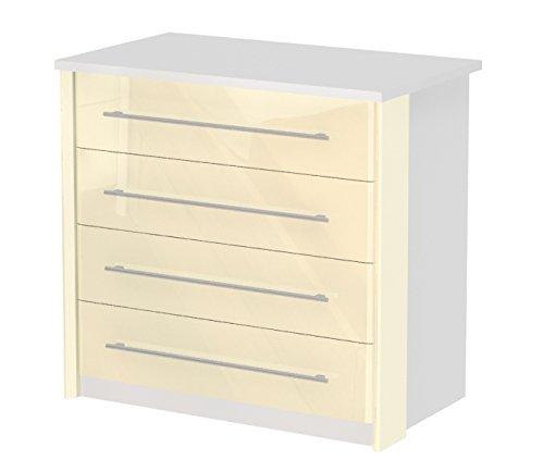 Kommode Lepa 30, Farbe: Weiß / Creme Hochglanz - Abmessungen: 92 x 97 x 57 cm (H x B x T)