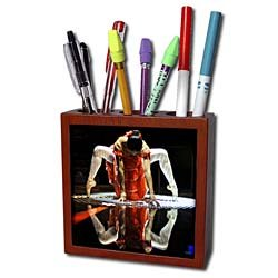 Kike Calvo Dance - Ballerina dressed up with a Spanish style orange dress, performing on a silver surface - Tile Pen Holders-5 inch tile pen holder