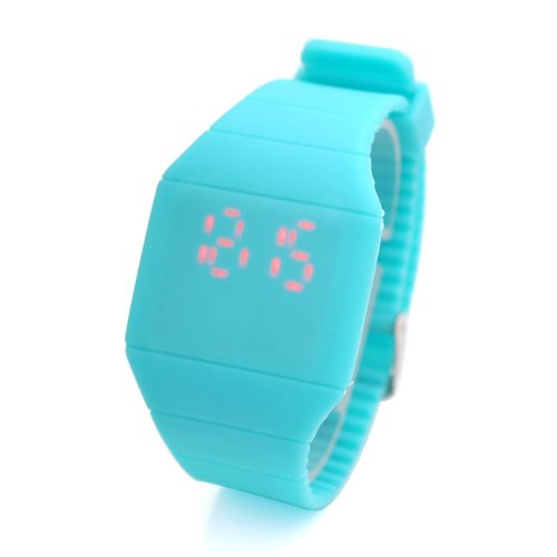 Jovivi Screen Led Digital Silicone Ultra-Thin Touch Sport Watch (Light Blue)