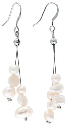 Cream Ivory White Freshwater Pearl 3cm Long Earrings on Nickel-Free Base Metal Fishhooks, Perfect for Brides and Bridesmaids