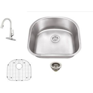 Schon SC167550SS Combos Stainless Steel All-in-One Undermount Stainless Steel 30 Inch 0-Hole Double Bowl Kitchen Sink with Faucet