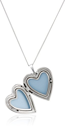 "Momento Lockets Sterling Silver Heart Shaped ""Love"" Locket Cross and Flower Necklace"