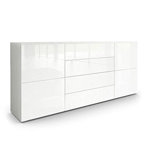 Sideboard-Kommode-Rova-in-Wei-matt-Wei-Hochglanz-Wei-Hochglanz