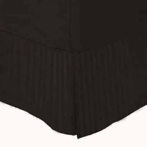 Marrikas (Tm) 1500 Class Microfiber Twin Extra Long Bed Skirt Stripe Chocolate front-935651