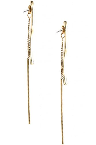 [Wavy Bar Threader Style 316L Surgical Steel Earrings] (Wavy Guy Costume)