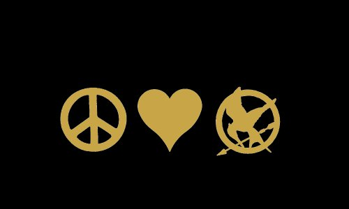 Peace Love Mockingjay Symbol Hunger Games Car Window Decal Sticker Metallic Gold 6