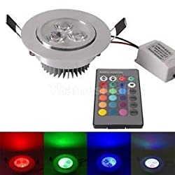 Various Color LED Recessed Ceiling Downlight Spot Light Fitting Lighting+ Remote Green