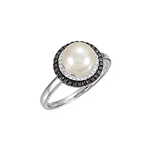 14kt White Freshwater Cultured Pearl with 1/4 CTW Black & White Diamond Ring