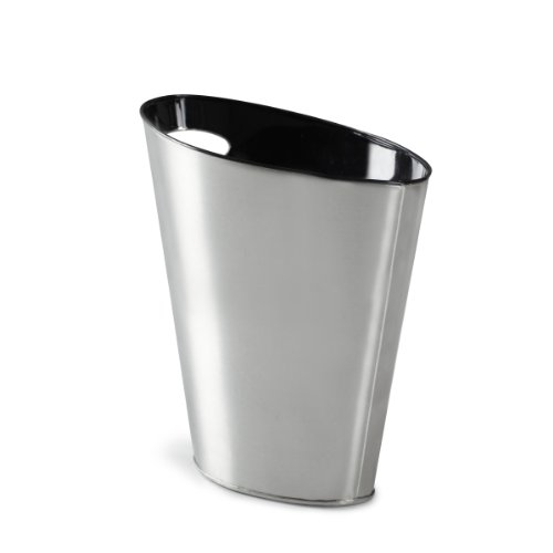 Umbra Skinny Metal Waste Bin, Nickel/Black