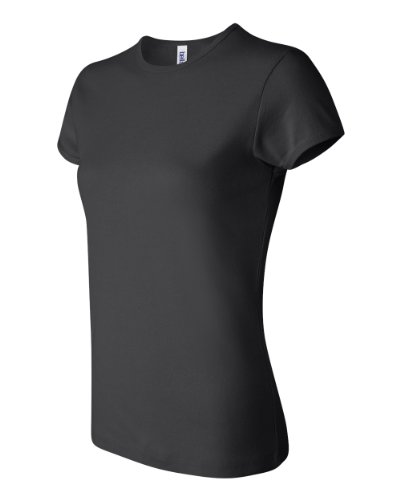 Bella Ladies 5.8 oz. Cotton 1x1 Rib Cap Sleeve T-Shirt (S / BLACK)