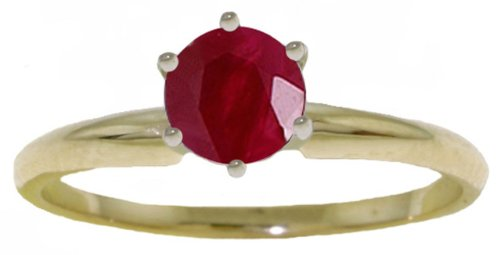 14k Solid Gold Genuine Ruby Solitaire Ring - Size 6.5