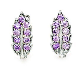 14ct White Gold February Birthstone Purple CZ Leaf Leverback Earrings - Measures 14x7mm