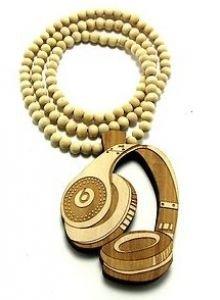 """Hip Hop Good Custom Wood Monster Beats Headphones 32"""" Wooden Bead Necklace"""
