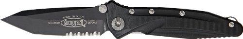 Micro Tech Knives 1632 Part Serrated Socom Delta Tanto Point Linerlock Knife With Black Carbon Fiber/G-10 Handles