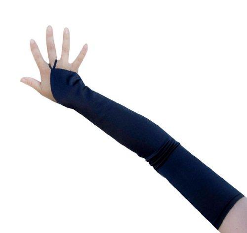 SACASUSA (TM) 19 inch Long Fingerless Satin Gloves in Navy Blue