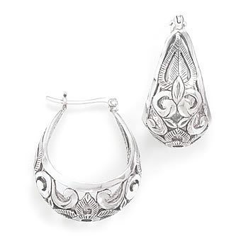 Rhodium Plated Scroll Design Hoop Earrings