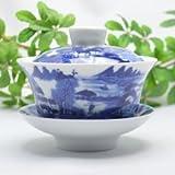 景徳鎮青花磁器 蓋碗・山水130ml