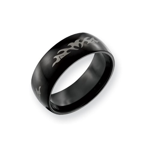 Stainless Steel Fancy Black 8mm Band, Size 7.5
