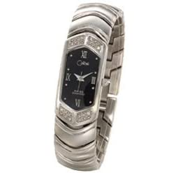 Colibri Ladies 8 Diamond Chevron Silver Tone Watch