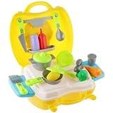 Banggood Lot Of 26pcs Plastic Pretend Play Food Kids Cooking Tools Kitchen Set-Yellow