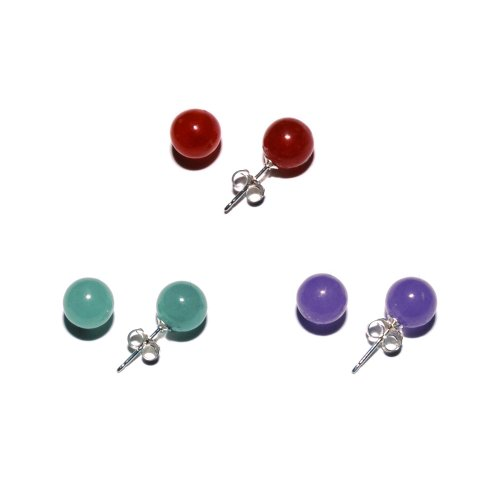 Sterling Silver 8mm Red, Lavender and Green Jadeite Stud Earrings Set