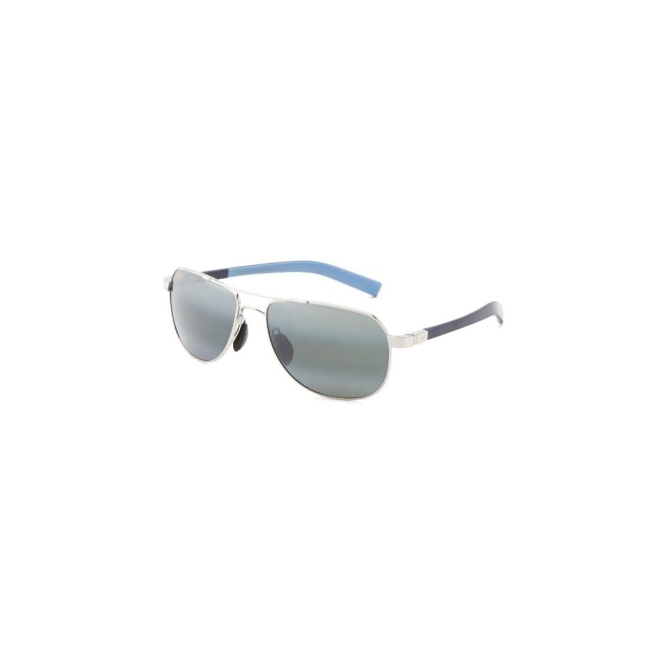 ae87aef9ef Maui Jim Guardrails 327 17 Polarized Aviator Sunglasses,Silver Frame/Neutral  Grey Lens,