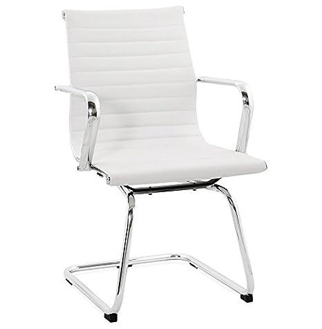 ALTEREGO-Silla de escritorio Design 'Giga' piel sintética color blanco