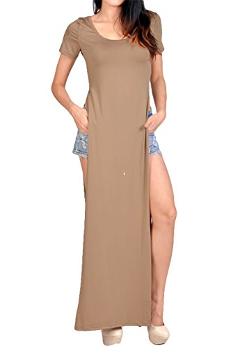 Tp Sky Womens Round Neck Celebrity Casual Side Slits Long Maxi Dress (M, Khaki)