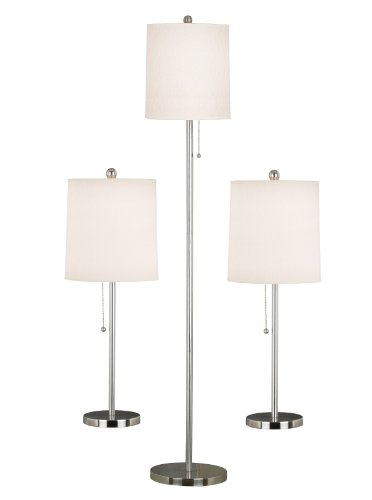 Kenroy Home 21016BS Selma Table and Floor Lamp, 3 Pack, Brushed Steel
